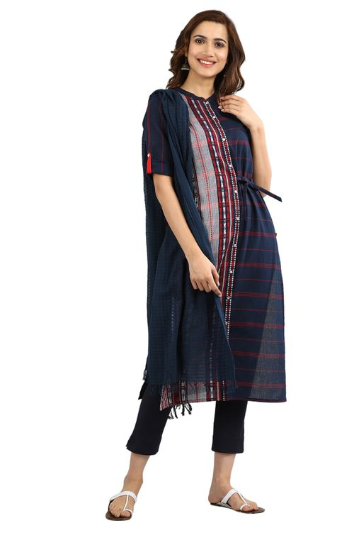 Aurelia Women's Yarn-dyed Straight Kurta - Medieval Blue