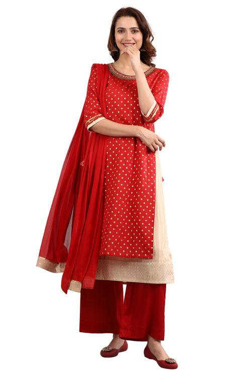Aurelia Women's Round Neck Embellished Kurta Set - T-Red