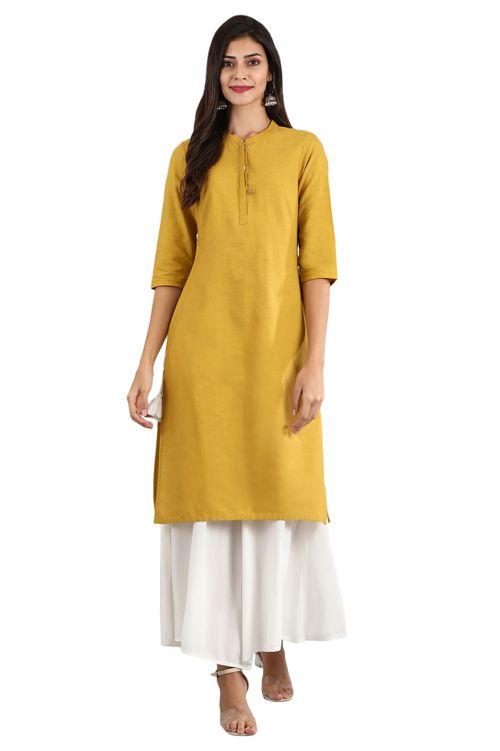 Aurelia Women's Round Neck Solid Kurta - Ceylon Yellow
