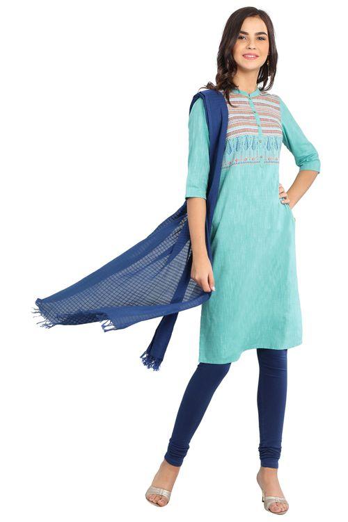 Aurelia Women's Disha Patani Band Collar Yarn-dyed Kurta - Sky Blue