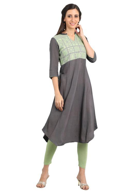 Aurelia Women's Disha Patani Collection Band Collar Yarn-dyed Kurta - Grey