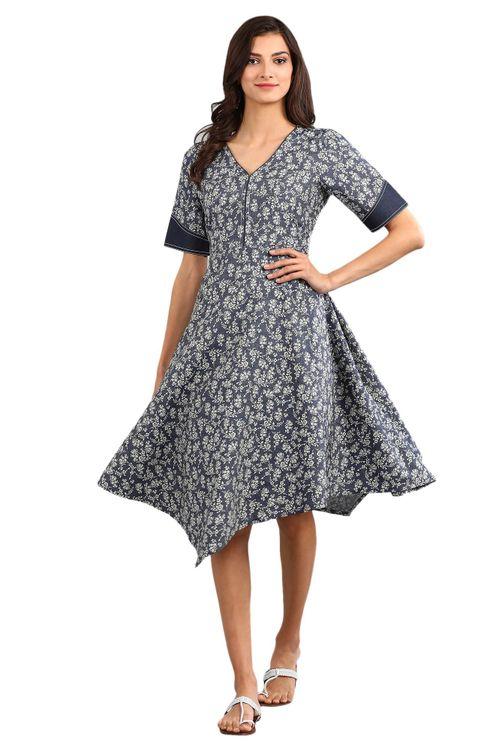 Aurelia Women's V-Neck Printed Dress - Blue