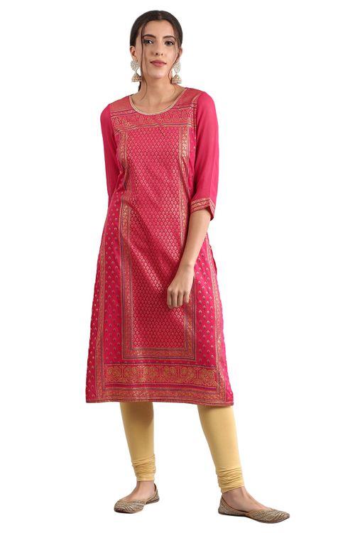 Aurelia Women's Round Neck Printed Kurta - Bright Pink